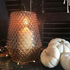 Retro Halloween Fall Style Embossed Glass Amber Orange Tea Light Candle Holder