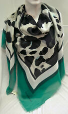 BURBERRY LUXUS SOMMER XXL SCHAL TUCH SCARF Carré платок 135 x135 UVP 395 € GREEN