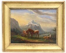 HST paysage montagne troupeau vaches Ecole Italienne Suisse painting XIXè