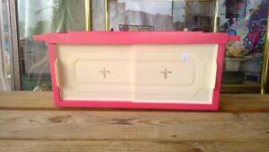 Pink & White 1980's Sliding Door Wall Mounting Cabinet Shelf