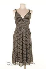 259Q Max Studio Dress Size M Womens Nylon Sheer Brown Empire Waist Graphic