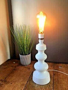 RETRO 70'S WHITE SCANDINAVIAN STYLE BULBOUS HOOPED GOURD POTTERY TABLE LAMP 60'S