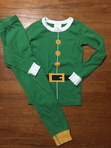 Hanna Andersson 120 Size 6 PJ Set Elf Christmas Green Pajamas Jammies Set
