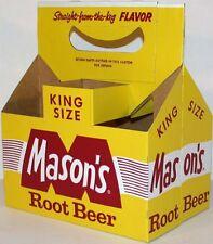 Vintage soda pop bottle carton MASONS ROOT BEER King Size unused new old stock