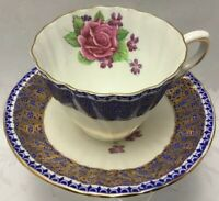 Vintg GLADSTONE Cup Saucer Set Cobalt Blue and Heavy Gold Gilt With Cabbage Rose
