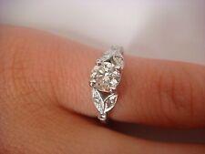 0.65 CT T.W. VINTAGE ENGAGEMENT DIAMOND RING 14K WHITE GOLD
