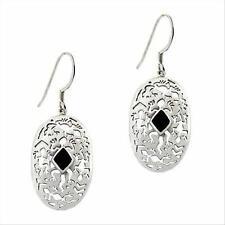 925 Silver Onyx Stone Filigree Oval Dangle Earrings