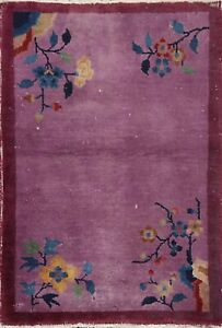 Semi-Antique Floral Art Deco Nichols Chinese Oriental Area Rug Hand-knotted 2x3