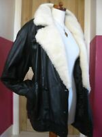Ladies M&S real SHEEPSKIN LEATHER COAT UK 16 14 flying aviator retro black