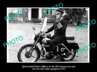 OLD POSTCARD SIZE PHOTO OF QUEENSLAND POLICE BSA MOTORCYCLE  & RADIO c1955