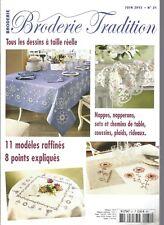 BRODERIE TRADITION N°31 CHEMIN DE TABLE FLEURI / SET CHAMPETRE / JETE DE LIT