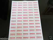 65 FRAGILE /HANDLE WITH CARE LABELS SMALL STICKERS ON A4 FREE POST