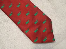 vineyard vines Red with Green Whale Pattern 100% Silk Tie NWT $125 Made in USA
