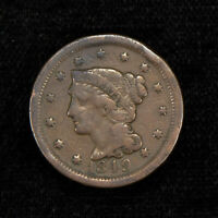 1849 1c BRAIDED HAIR LARGE CENT, FINE+ COIN LOT#Y500