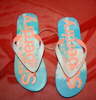 NWT SUPERDRY womens AOP Optic/Candy Coral/Pastel Palm Print Flip Flop size L
