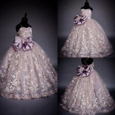 Luxury Flower Girl Dress Lace Applique Bead Pearls Pageant Birthday Party Gowns