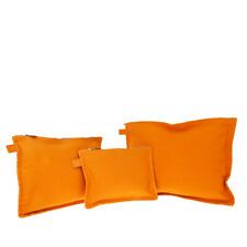 Authentic HERMES Borabora Flat Set Pouch Clutch Bag 100% Cotton Orange 07EW329