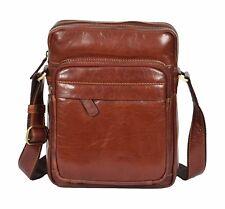 Mens Cross Body Real Leather Brown Bag Organiser Shoulder Messenger Flight Pouch