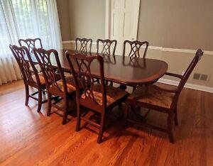 HENKEL HARRIS Banded Mahogany Pedestal Table w/6 Chairs