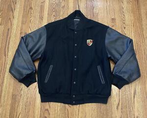Porsche Vintage Wool Leather Button Up Embroidered Varsity Letterman Jacket Rare