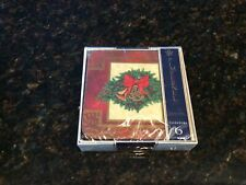 Vintage Pimpernel Coasters Holly Celebration Christmas Set 6 Square New In Box