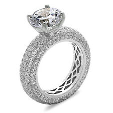 Sterling Silver Eternity Solitaire Engagement Ring with Micro Pave CZ, Size 7-9