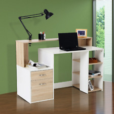 Wooden Computer Study Desk Office Table Drawers Shelves Bedroom Laptop Oak Stand