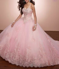 New Beading Quinceanera Dresses Ball Gowns Lace Pink Blue Prom Party Dresses