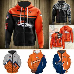 Denver Broncos Hoodies Full Zip Hooded Jacket Men's Casual Football Sweatshirts