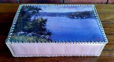 ANTIQUE VINTAGE RETRO HANDCRAFTED CARD BASKET SEWING BOX STORAGE CROCHET CRAFT
