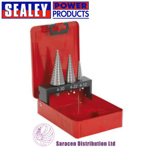 SEALEY HSS M2 STEP DRILL CONE CUTTER BIT SET 3PC DOUBLE FLUTE - AK4733
