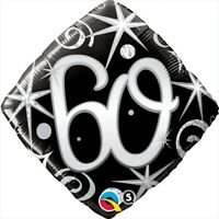 "FOIL BALLOON 18""(45CM) 60th Birthday Elegant Sparkles & Swirls BIRTHDAY PARTY..."