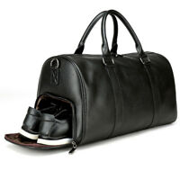 US Mens Leather Gym Duffel Shoulder Bag Travel Overnight Luggage Large Handbag