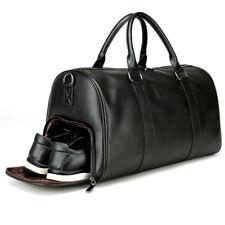 Mens Leather Gym Duffel Shoulder Bag Travel Overnight Luggage Large Soft Handbag