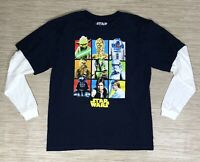 Star Wars Navy Blue Cotton Layered T-Shirt Men's XL Long Sleeve Crew Neck Yoda