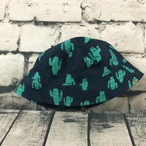 Gymboree Baby Hat Bucket Beach Cactus Strap Blue Green Size 0-6 Months