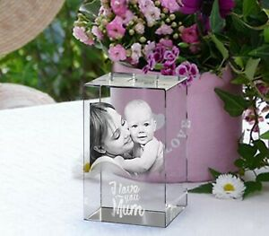 Personalised Photo Glass Block Laser Engraved Custom Etched Crystal Paperweight