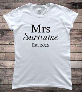 Personalised Mrs Surname Bridal Wedding Day T-Shirt