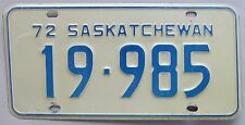Saskatchewan 1972 License Plate # 19-985
