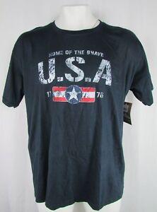 Mountainaire Men's Navy Short Sleeve Distress Graphic T-Shirt