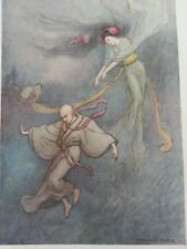 ANTIQUE PRINT 1923 GREEN WILLOW JAPANESE FAIRY TALES THE BELL OF DOJOJI ART