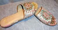 marc fisher women's flat leather  shoes size 8M slip on floral print