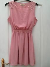 PERFECT BABY PINK SHEER EMBELLISHED PEARL BEAD FLOATY TEA SKATER COCKTAIL DRESS