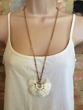 NEW WHITE STUFF Gold Chain Long Cream Poetry Tassel Statement Costume Necklace
