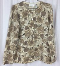 LIZ CLAIBORN Sweater WOOL ANGORA BLEND Brown Ivory Roses Petite S LizSport