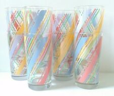 Nice Set of 8 Vintage Pastel Glass Drinking Tumblers Pink Blue Yellow Lilac
