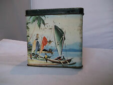 !950's tiki style vintage tea tin Shabby chic retro charm 10cms x7cmsx10cms