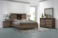NEW Modern Queen King 4PC Bedroom Set Rustic Brown Farmhouse Furniture Bed/D/M/N