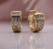 18K REAL ROSE GOLD FILLED LONG HOOP EARRINGS MADE WITH SWAROVSKI CRYSTALS RG60