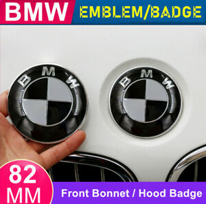 1X BMW Front Hood Bonnet Badge Caps Cover Emblem 82MM With BMW Logo Black/White